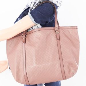 💎✨Authentic✨💎GUCCI Pink Beige Leather Tote Bag